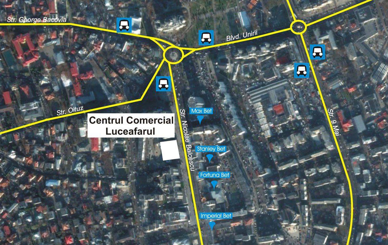 Galati centru, inchiriere spatiu comercial Luceafarul Mall, harta