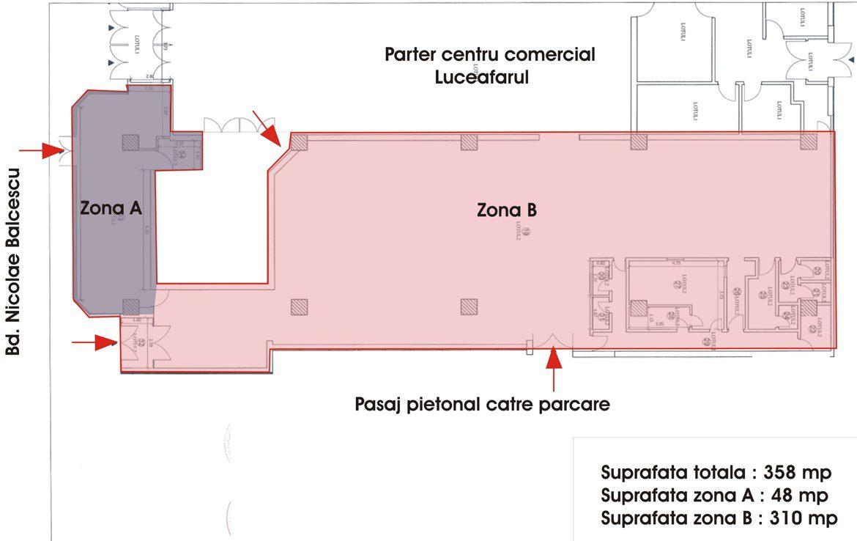 Galati centru, inchiriere spatiu comercial, plan
