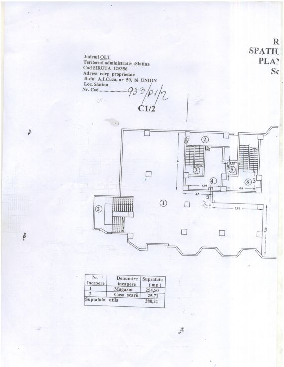 Slatina centru, inchiriere spatiu comercial Bulevardul Alexandru Ioan Cuza, plan