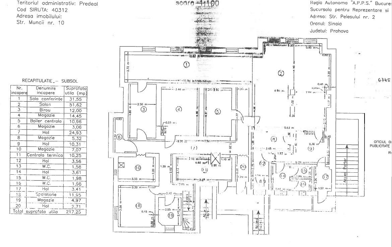 Predeal centru, vanzare spatiu Hotel Robinson Predeal, plan