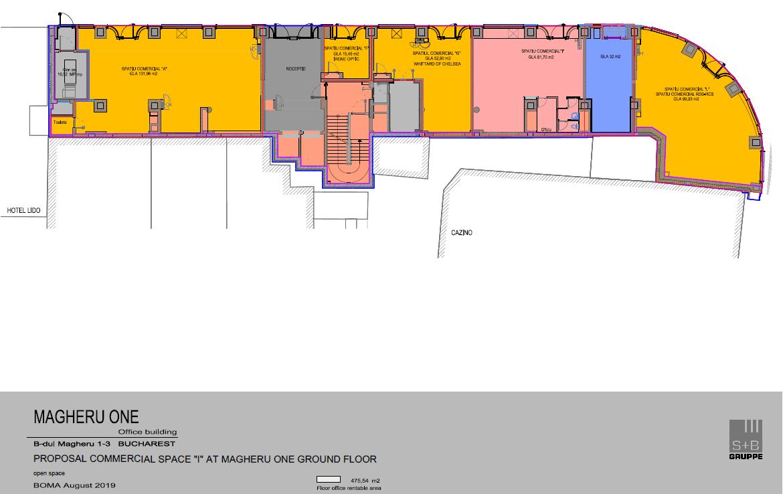 Bucuresti centru, inchiriere spatiu comercial Bulevardul Magheru, imagine plan